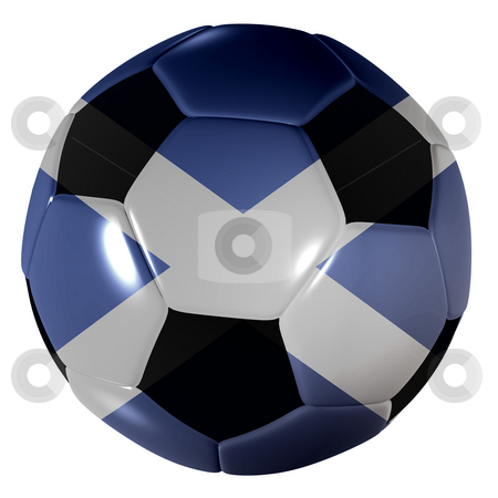Football scotland stock photo, Traditional black and white soccer ball or football scotland by Michael Travers