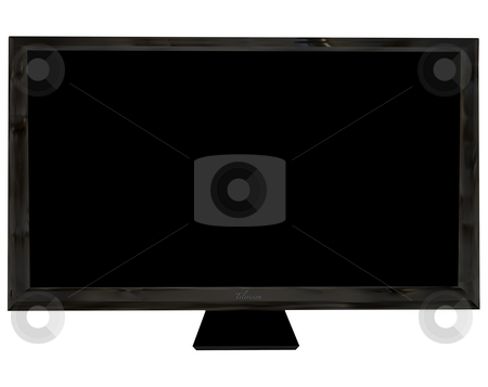 Television front stock photo, Modern black flat screen  with room to add your own image by Michael Travers