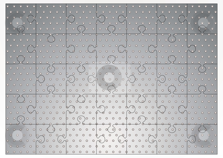 Silver metal jigsaw puzzle stock vector clipart, Silver metal background with holes punched and jigsaw puzzle concept by Michael Travers