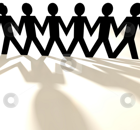Paper chain group of people stock photo, Paper chain cut out people with shadow and white background by Michael Travers