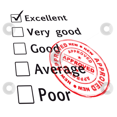 Excellent evaluation pass stock vector clipart, Passed your business evaluation with excellent grade and ink stamp by Michael Travers