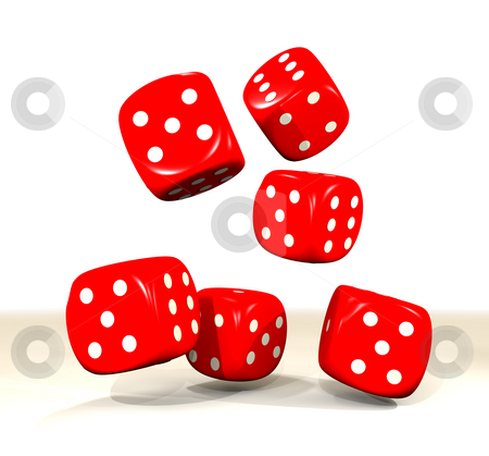 Six red dice throw stock photo, Six red dice falling onto a white surface with shadow by Michael Travers