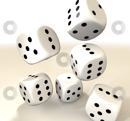 Six white casino dice stock photo, Collection of six white casino dice with black spots by Michael Travers