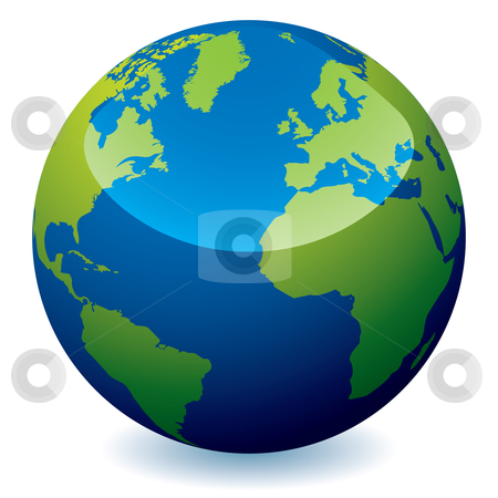 Realistic earth globe stock vector clipart, Real world earth icon with blue oceans and green land with shadow by Michael Travers