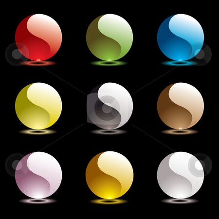 Gel round ying yang stock vector clipart, Nine ying yang web round icons with outer glow in bright colors by Michael Travers