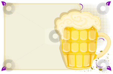 Bar menu with beer mug stock vector clipart, Party menu with cold beer in a mug. With room for your text. Vector illustration saved as EPS AI8, all elements layered and grouped. by Andreea Chiper