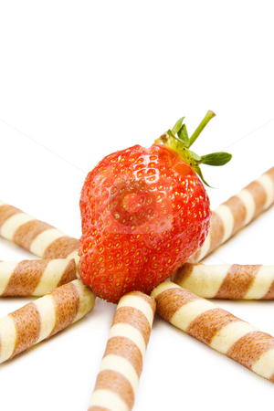 Strawberry dessert stock photo, Tasty strawberry with waffles isolated on white. by Andreea Chiper