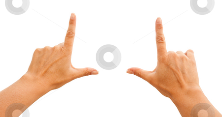 Female Hands Making Frame on White, Clipping Path stock photo, Female Hands Making Frame Isolated on a White Background with Clipping Paths for Your Own Positioning. by Andy Dean