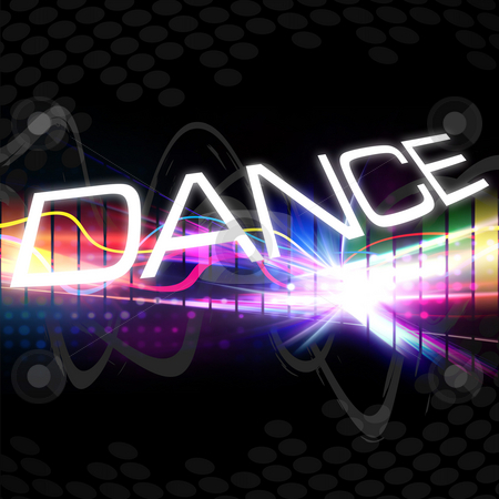 Funky Dance Montage stock photo, A rainbow colored graphic equalizer with the word DANCE and plenty of copyspace. by Todd Arena