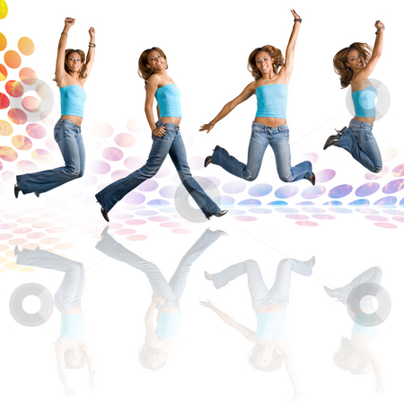 Woman Dancing and Jumping stock photo, A young Hispanic woman in her early twenties jumping in the air in four different poses over an audio waveform backdrop with reflections. by Todd Arena