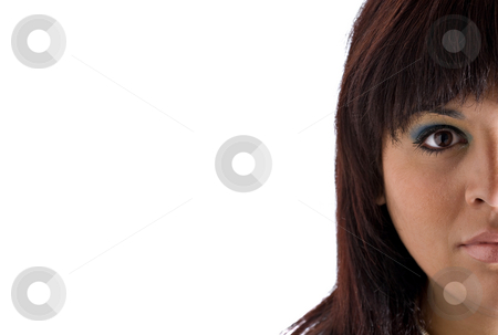 Half Of a Womans Face stock photo, A young Hispanic plus sized model isolated over white with copyspace. by Todd Arena