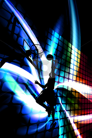 Abstract Basketball Silhouette stock photo, Abstract illustration of a silhouette of a man slam dunking a basketball over a background of rainbow colored artwork. by Todd Arena