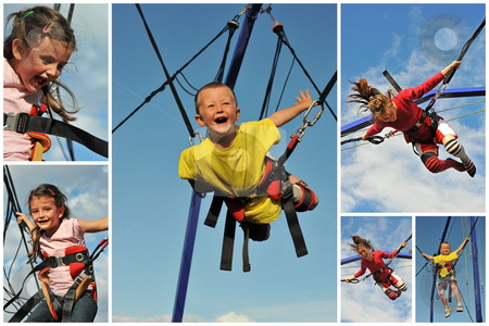 Bungee jumping stock photo, Little children  jumping on the trampoline (bungee jumping). by Bonzami Emmanuelle