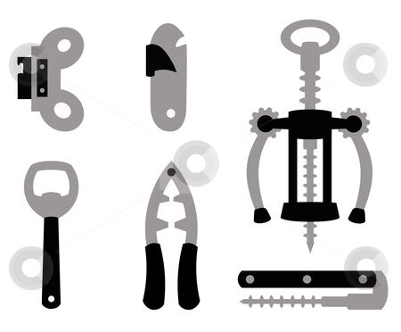 Open stock vector clipart, Different objects to open other objects in black and gray by Alejandro Lozano campa?