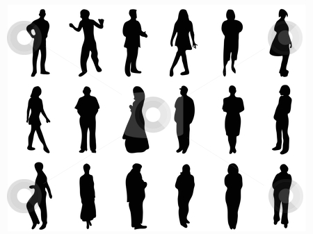 Silhouettes stock vector clipart, Silhouettes of people by Alejandro Lozano campa?