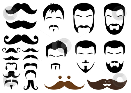 Moustache and beard styles, vector stock vector clipart, Set of mustache and beard designs, vector by Beata Kraus