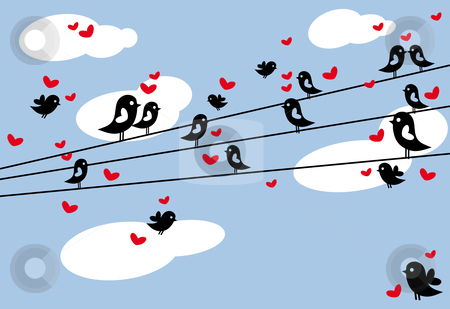 Birds in love stock vector clipart, Birds sitting on wire, vector by Beata Kraus