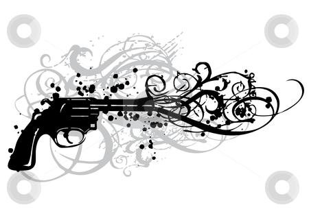 Vintage gun  stock vector clipart, Vintage gun with grungy swirls, vector by Beata Kraus