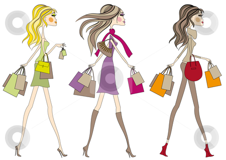 Shopping women stock vector clipart, Fashion girls walking with shopping bags, vector by Beata Kraus