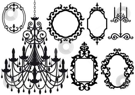 Old chandelier and picture frames stock vector clipart, Antique picture frames and crystal chandelier silhouette, vector by Beata Kraus