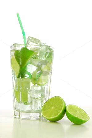 Cocktail stock photo, Cocktail or lemonade with sliced lime fruit by Gunnar Pippel