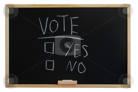 Vote yes or no stock photo, Blackboard where you can vote yes or no by Gunnar Pippel