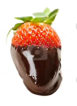 Strawberry dipped in chocolate stock photo, Strawberry dipped in delicious chocolate isolated on white by Elena Elisseeva