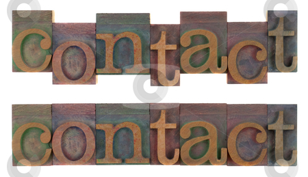 Contact - old wooden letterpress type stock photo, The word contact (two layouts) in old wooden letterpress type blocks, stained by colorful ink, isolated on white by Marek Uliasz