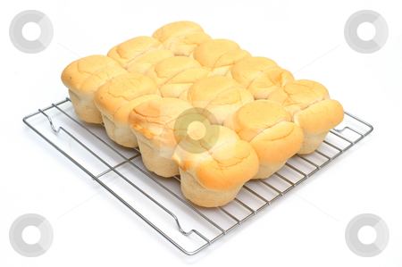 Heat And Serve Biscuits stock photo, Sore bought heat and serve biscuits on a chrome plated cooling rack on a white background by Lynn Bendickson