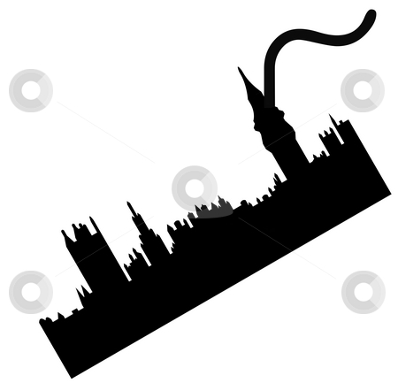 Hung Parliament stock photo, Conceptual illustration of hung parliament after British general election, isolated on white background. by Martin Crowdy