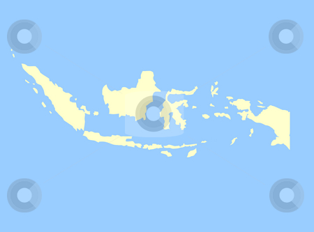 Map of Indonesia stock photo, Map of Indonesia isolated on a blue background. by Martin Crowdy