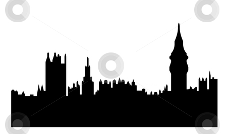 Houses of Parliament stock photo, Black silhouette of Houses of Parliament or Palace of Westminster, London, England. Isolated on white background. by Martin Crowdy