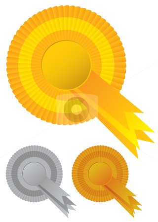 Collection rosette awards stock vector clipart, Gold silver and bronze rosette awards ribbons by Michael Travers
