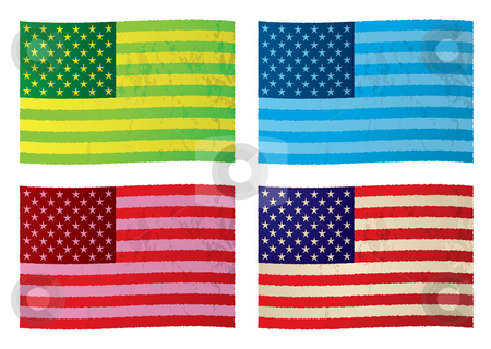 American grunge flags stock vector clipart, Collection of grunge flags with color variation and stars n stripes by Michael Travers
