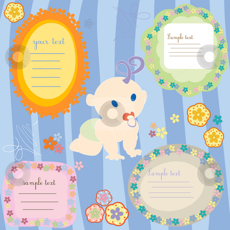 Baby cards stock photo, Baby announcment text cards, design elements by Richard Laschon