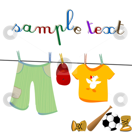 clothes and toys stock photo, Little boy clothes on clothesline and toys by Richard Laschon