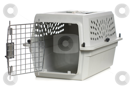 Cat Carrier stock photo, A grey cat carrier with the door open, isolated against a white background. by Richard Nelson