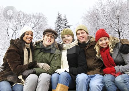 Group of friends outside in winter stock photo, Group of diverse young friends outdoors in winter by Elena Elisseeva