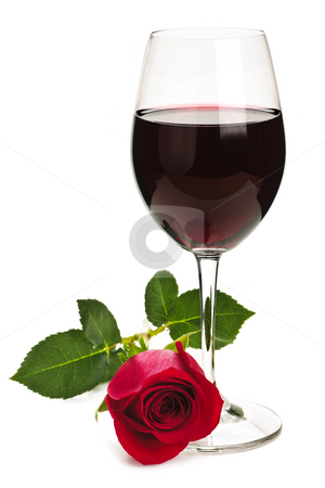 Wine with red rose stock photo, Romantic glass of red wine with long stemmed rose isolated on white background by Elena Elisseeva