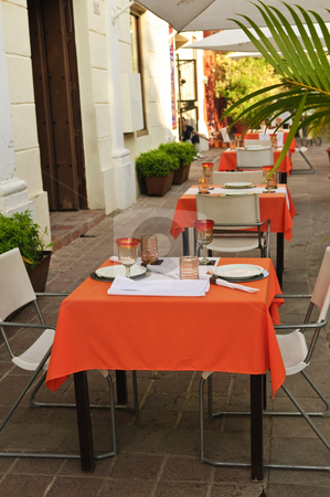 Restaurant patio stock photo, Outdoor restaurant patio on the street of Guadalajara, Mexico by Elena Elisseeva
