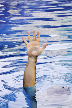 Hand of drowning man stock photo, Hand of drowning man needing help and assistance by Elena Elisseeva