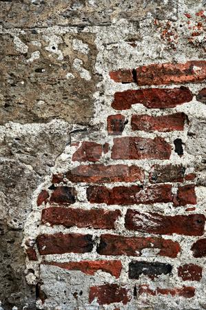 Grunge brick background wall stock photo, Old red brick and cement grunge wall background by Elena Elisseeva