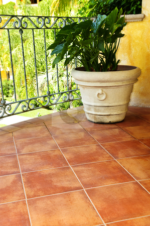 Plant on tiled Mexican veranda stock photo, Tiled Mexican balcony with potted plant near railing by Elena Elisseeva
