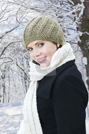 Happy woman outside in winter stock photo, Portrait of young happy woman outdoors in winter by Elena Elisseeva