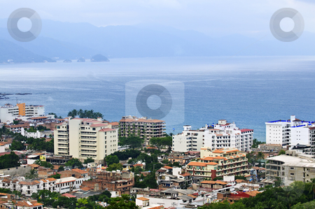 Cityscape in Puerto Vallarta, Mexico stock photo, Cityscape view from above with Pacific ocean in Puerto Vallarta, Mexico by Elena Elisseeva