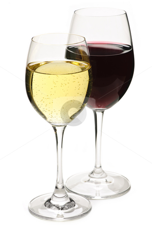 Red and white wine stock photo, Red and white wine glasses isolated on white background by Elena Elisseeva