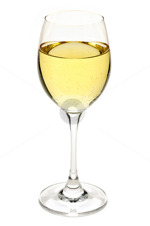 White wine in glass stock photo, White wine beverage in crystal wineglass isolated by Elena Elisseeva