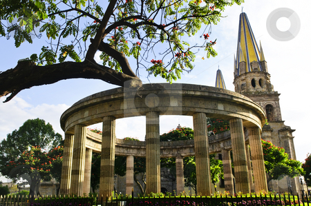 Rotunda of Illustrious Jalisciences and Guadalajara Cathedral in Jalisco, Mexico stock photo, Rotonda de los Jalisciences Ilustres and Cathedral in historic center in Guadalajara, Jalisco, Mexico by Elena Elisseeva