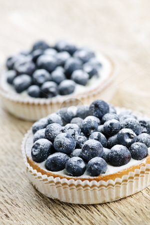 Blueberry tarts stock photo, Closeup of fancy gourmet fresh blueberry dessert tarts by Elena Elisseeva
