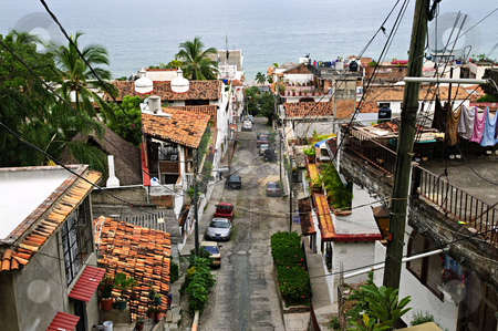 City street in Puerto Vallarta, Mexico stock photo, Street leading to Pacific ocean in Puerto Vallarta, Mexico by Elena Elisseeva